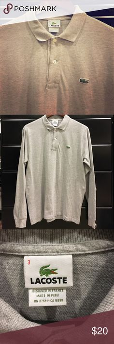 Men's Lacoste Long Sleeve Grey Polo Long sleeve, grey, polo. Great condition! Lacoste Shirts Polos