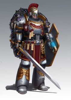 Justice for the Fallen — shkimmilk: Commission work Warhammer 40k Art, Warhammer 40k Miniatures, Warhammer Fantasy, Armor Concept, Concept Art, Character Art, Character Design, Marine Colors, Grey Knights