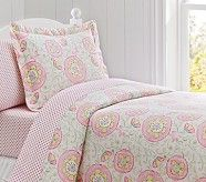 Casey Suzanni Duvet Cover, Twin, Pink/Green