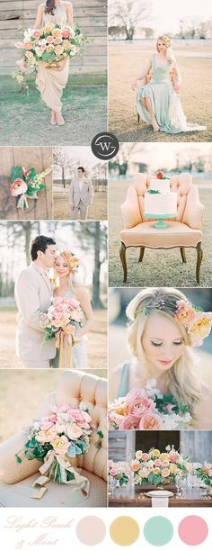 light peach, mint and gold romantic spring and summer wedding colors