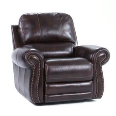 Thurston Leather Living Room Collection Power Recliner in Tobacco Brown