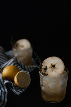 portrait of a cocktail // apple + grilled thyme smash recipe on jojotastic.com