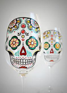 Sugar Skulls - Hand Painted Wine Glasses