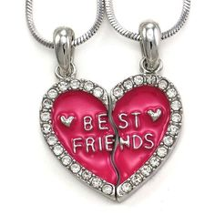 Rhinestone Heart Best Friends Forever BFF Necklaces Friendship Jewelry ,friendship necklaces sets