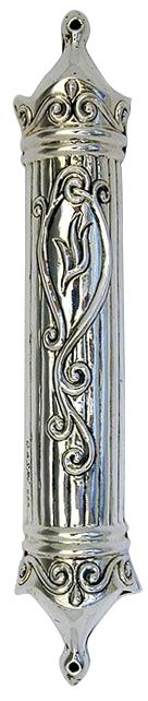 Sterling Silver Plated Mezuzah with Scrollwork and Hebrew Letter Shin