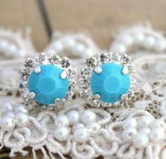 Blue Turquoise Crystal  stud earring - Silver plated  post earrings real swarovski rhinestones .