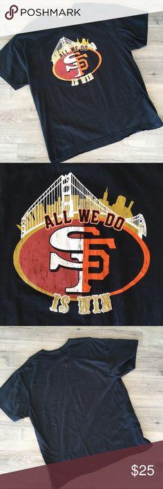SAN FRANCISCO ~ 49ers giants sports T-shirt SAN FRANCISCO ~   San Francisco's sports  Men's short sleeve T-shirt  Men's T-shirt  Sports apparel  Black T-shirt  Half & half sports  All we do is win  SF niners  SF GIANTS  SIZE extra large san francisco Shirts Tees - Short Sleeve