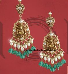 Impeccable designer gold and polki studded Ganesh long earrings bejeweled with pearl and emerald drops. This exclusive earrings are from Kalasha jewels Indian Jewellery Design, Indian Jewelry, Jewelry Design, Gold Jhumka Earrings, Gold Earrings Designs, Black Earrings, Mens Silver Necklace, Silver Jewelry, 925 Silver