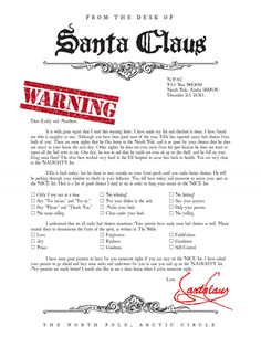 Warning letter from Santa Naught list