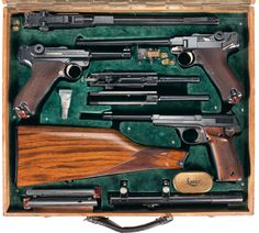 Fishstick Monkey: Luger Set in a Luxe Box Luger Pistol, Revolvers, Ww2 Weapons, Gun Cases, Cool Guns, Guns And Ammo, Firearms, Hand Guns, Arsenal
