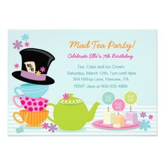 Mad Hatter Tea Party Invitations | Mad Hatter Tea Birthday Party Invitations from Zazzle.com