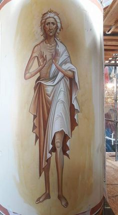 Greece -by George Kordis ~~~.St Mary of Egypt fresco Religious Images, Religious Icons, St Mary Of Egypt, Santa Maria, Religious Paintings, Jesus Art, Best Icons, Byzantine Icons, Orthodox Icons