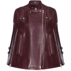 Givenchy Leather Cape (€6.155) ❤ liked on Polyvore featuring outerwear, jackets, red, cape coat, givenchy, leather cape, purple cape and leather cape coat