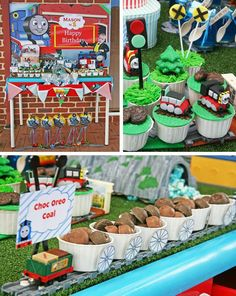 Thomas the train themed birthday.  Click the link and find more great ideas for this party!