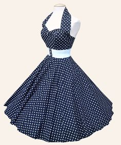 50s Halterneck Polka dot Dress from Vivien of Holloway | 1950s Dresses from Vivien of Holloway