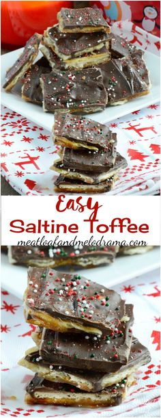 Easy Saltine Toffee, also known as Christmas Crack - A no bake quick holiday treat that makes a great gift! Meatloaf and Melodrama (christmas baking gifts easy) Christmas Crack, Christmas Desserts, Holiday Treats, Christmas Treats, Christmas Baking, Holiday Recipes, Holiday Cookies, Christmas Candy, Christmas Nibbles