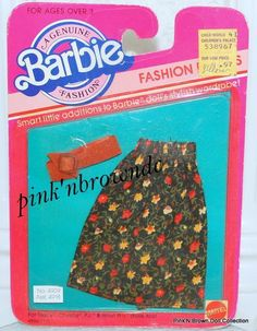 1983 Barbie FASHION EXTRAS #4909 Genuine NRFP Floral Skirt w/Belt