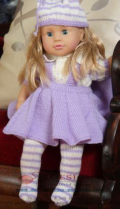 Die modernsten Puppen-Strickmuster des Jahres - Wunderschöne Kleider für Lilly in lila und weiß