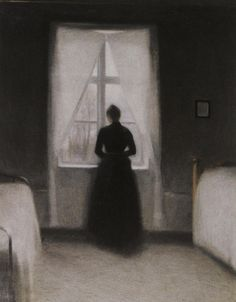 Vilhelm Hammershøi ( 1864 – 1916 ) est un peintre danois avant tout connu connu pour ses tableaux qui montre des intérieurs d'appartements. Il commence sa série de peintures sur les intérieurs dans les années 1898 en peignant son appartement de Copenhague qui lui servait aussi d'atelier et qu'il avait volontairement décoré d'une façon minimaliste. …