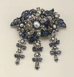 Antique peal, diamond and sapphire pendant/brooch 19th century