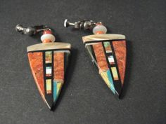 VINTAGE Santo Domingo INLAY TURQUOISE, MOTHER OR PEARL, MORE Silver Earrings Old