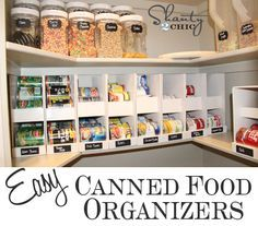 Simple {DIY} Canned Food {Pantry Organizer!} - My pantry is a MESS. Recipe Organization, Pantry Organization, Pantry Ideas, Organizing Ideas, Organized Pantry, Organised Life, Organising, Kitchen Pantry, Kitchen Storage