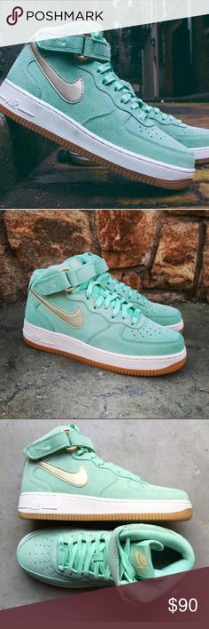 Nike air force 1 mid Fly shoe for the fly girl. You got hella timbs in your closet, You keep it sexy with a little hood in your swag. You fawn over a muscle built dude with timbs and cargos, wife beater and long braids. Your eyebrows stay on fleek, and you got that new press and curl. Well nothing says, I'm cute and swaggy like the air force 1 mid. The light green color gives off that feminine vibe to a classic silhouette.  Brand new in box Nike Shoes Sneakers