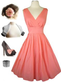 50s Style Coral Bombshell Pinup Surplice Rockabilly Dress with Full Skirt | eBay $53.99