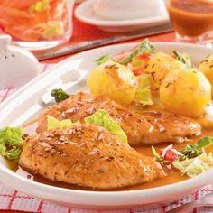 Morčacie prsia na šťave Baked Potato, Potatoes, Meat, Chicken, Baking, Ethnic Recipes, Food, Potato, Bakken