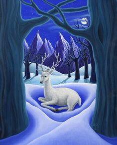 White Hart | Diane Kremmer | The white stag (hart) is a familiar creature of myth and legend. The white stag in Celtic myth is an indicator that the Otherworld is near. It appears when one is transgressing.