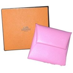 Pre-owned Hermes Bastia Coin Purse ($290) ❤ liked on Polyvore featuring bags, wallets, accessories, pink confetti, hermes wallet, change purse, change purse wallet, pink coin purse and coin purse wallets