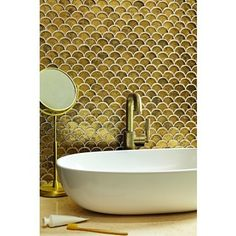 Gold Bathroom, Downstairs Bathroom, Bathroom Wall, Bathroom Ideas, Bathroom Design Small, Bathroom Interior Design, Small Bathrooms, Wall And Floor Tiles, Wall Tiles