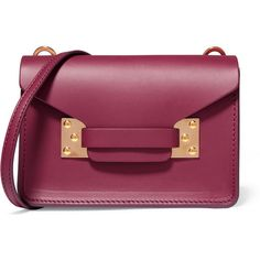 Sophie Hulme Milner nano leather shoulder bag (£285) ❤ liked on Polyvore featuring bags, handbags, shoulder bags, plum, purple handbags, shoulder strap handbags, leather purses, purple purse and lightweight handbags