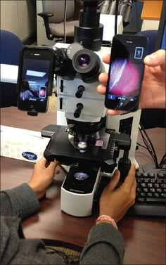 Figure 5: Live video transmission of a digital image is shown from a cell phone attached to a microscope with the Magnifi adapter