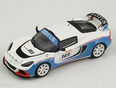 Spark 1:43 Lotus Exige Resin Model Car S2193 This Lotus Exige R-GT (2011) Resin Model Car is White and Blue and features comes in a display case. It is made by Spark and is 1:43 scale (approx. 9cm / 3.5in long).