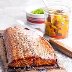 Plank-Smoked Salmon with Grilled Pepper Relish