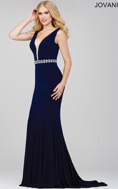 51a0f7be63 Navy Jovani 36020 V Neckline Jersey Prom Dress Navy Prom Dresses