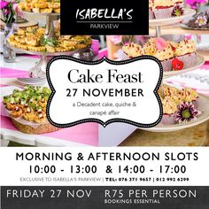 We can't wait! This Friday at #isabellas #parkview in Pretoria. Booking essential