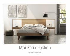 Click here to see Mobican's Monza bed with its lighted night tables   Cliquez ici pour voir le lit Monza de Mobican avec ses tables de nuit illuminées: http://mobican.com/en/monza/ #mobican #bed #madeincanada #nighttable #contemporary #furniture