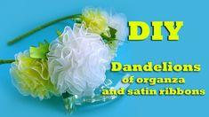 DIY Dandelions organza and satin ribbon. Headband