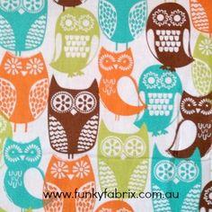 Swedish Owls Fabric www.funkyfabrix.com.au