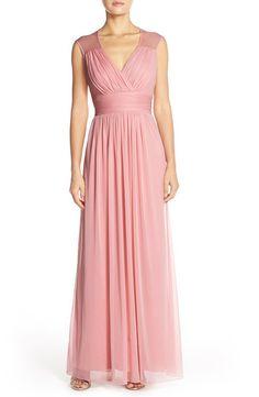 Light pink Alfred Sung chiffon bridesmaid dress - http://themerrybride.org/2015/12/06/burgundy-and-pink-wedding/
