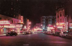 POSTCARD – CHICAGO – RUSH STREET – NIGHT – ISBELL'S, THE CURVE – TONY'S CELL – HOTEL MARYLAND – 1950s | CHUCKMAN'S PHOTOS ON WORDPRESS: CHICAGO NOSTALGIA AND MEMORABILIA Chicago Photos, Types Of Music, Old Photos, Maryland, 1950s, Chicago Illinois, Night, Street, Nostalgia
