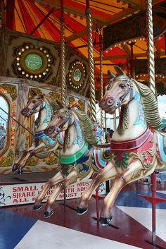 Vintage carousel horses in the