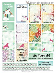 FREE Unicorns Planner Printable by Victoria Thatcher