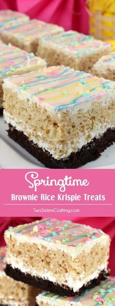 Springtime Brownie Rice Krispie Treats - your family will love these beautiful and yummy dessert bars featuring Brownies and Rice Krispie Treats. These colorful Easter Desserts will be a fun addition to your Spring baking list. These pretty and yummy Rice Krispie Treats are perfect for a Easter Brunch, Easter Dinner or a family get-together. Pin this great Easter treat for later and follow us for more fun Easter Food Ideas.