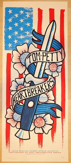 Tom Petty and the Heartbreakers w/ Steve Winwood - silkscreen concert poster (click image for more detail) Artist: Andy Vastagh Venue: Bridgestone Arena Location: Nashville, TN Concert Date: 9/23/2014