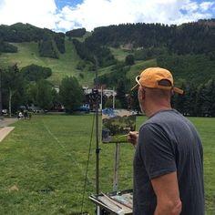 Carl Bretzke paints our Bavarian Beauty and her surrounds during Aspen's Plein Air Festival