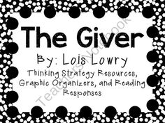 Teachers Notebook-Everything you need for a novel study on The Giver by Lois Lowry! There are many ways that you can use these resources. You can copy as an entire packet or you can copy pages individually! This can be for a small book club, or for the whole class!