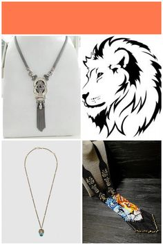 #lion head Mother of pearl knot necklace in sterling silver 925 with lion heads and garnet stones